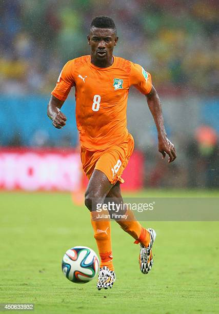 Salomon Kalou of the Ivory Coast controls the ball during the 2014 FIFA World Cup Brazil Group C match between the Ivory Coast and Japan at Arena...