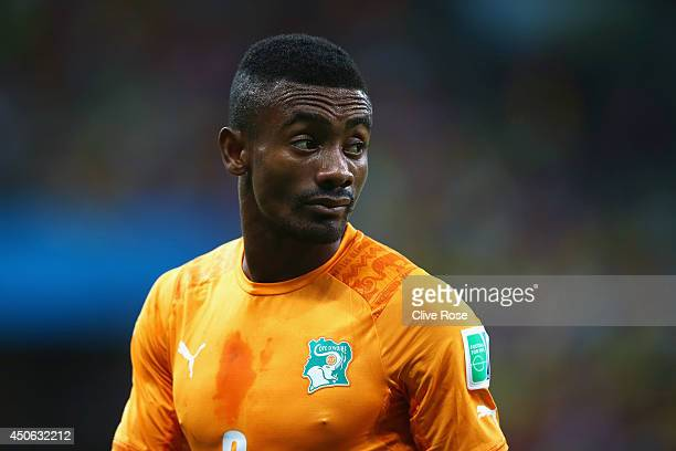 Salomon Kalou of the Ivory Coast looks on in the rain during the 2014 FIFA World Cup Brazil Group C match between the Ivory Coast and Japan at Arena...