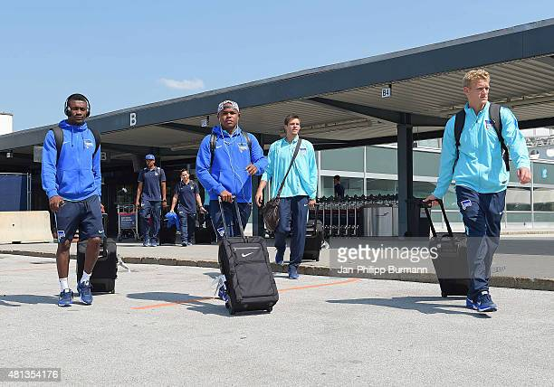 Salomon Kalou Ronny Rune Jarstein and Johannes van den Bergh of Hertha BSC during their arrival at Salzburg Airport ahead of the training camp in...