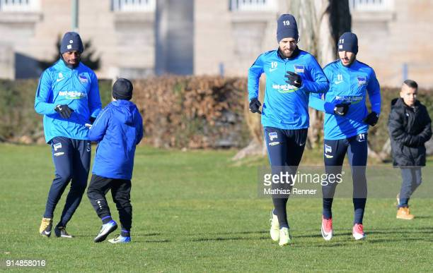Salomon Kalou Vedad Ibisevic and Mathew Leckie of Hertha BSC before the training session at the Schenkendorfplatz on February 6 2018 in Berlin Germany