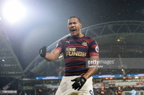 Salomon Rondon of Newcastle United celebrates after he scores the opening goal during the Premier League match between Huddersfield Town and...