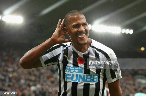 Salomon Rondon of Newcastle United celebrates after scoring his team's second goal during the Premier League match between Newcastle United and AFC...