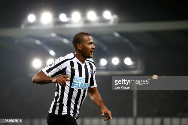 Salomon Rondon of Newcastle United celebrates after scoring his team's first goal during the Premier League match between Everton FC and Newcastle...