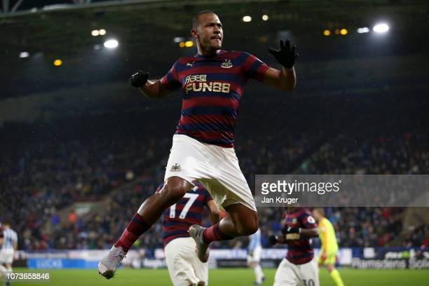 Salomon Rondon of Newcastle United celebrates after scoring his team's first goal during the Premier League match between Huddersfield Town and...