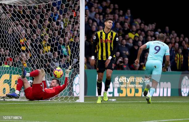 Salomon Rondon of Newcastle United celebrates after scoring his team's first goal as Adam Masina of Watford and Ben Foster of Watford react during...