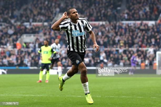 Salomon Rondon of Newcastle United celebrates after scoring his team's first goal during the Premier League match between Newcastle United and...