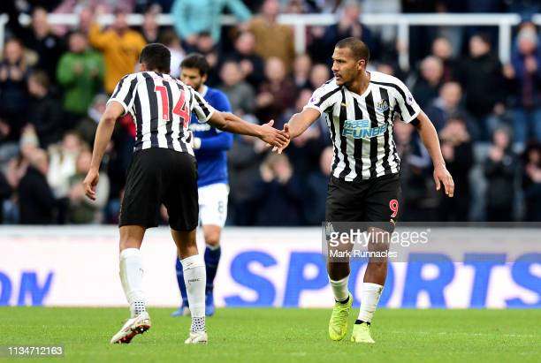 Salomon Rondon of Newcastle United celebrates after scoring his team's first goal with Isaac Hayden of Newcastle United during the Premier League...