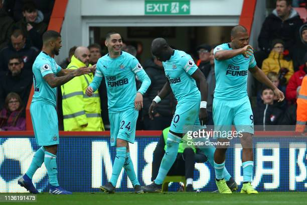 Salomon Rondon of Newcastle United celebrates after scoring his team's first goal during the Premier League match between AFC Bournemouth and...