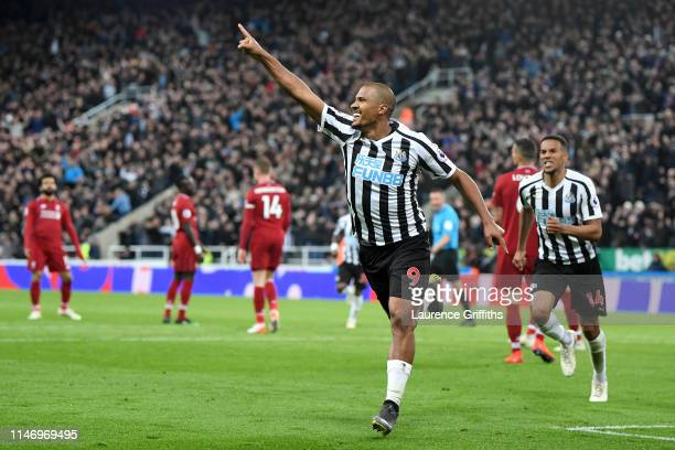Salomon Rondon of Newcastle United celebrates after scoring his team's second goal during the Premier League match between Newcastle United and...