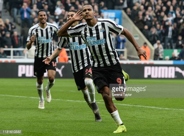Salomon Rondon of Newcastle United celebrates after scoring the opening goal during the Premier League match between Newcastle United and...