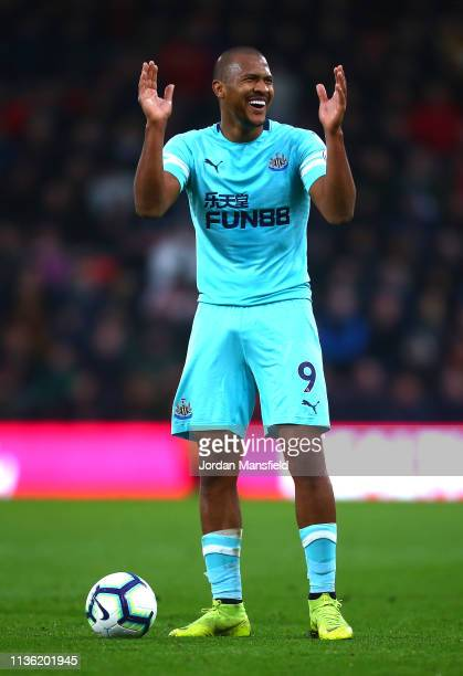 Salomon Rondon of Newcastle United reacts during the Premier League match between AFC Bournemouth and Newcastle United at Vitality Stadium on March...