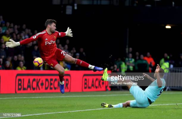 Salomon Rondon of Newcastle United scores a goal past Ben Foster of Watford but it is later disallowed during the Premier League match between...