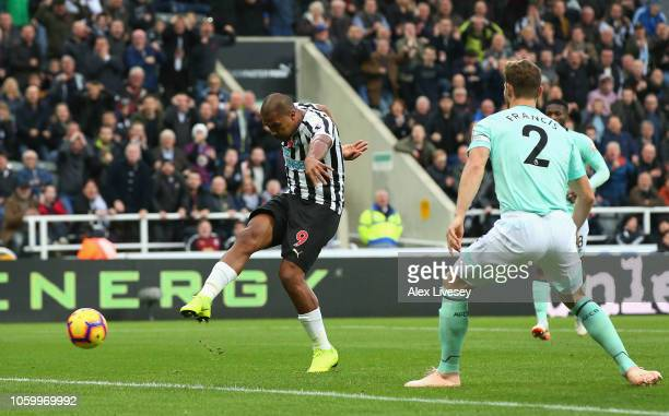 Salomon Rondon of Newcastle United scores his team's first goal during the Premier League match between Newcastle United and AFC Bournemouth at St...
