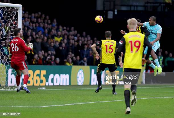 Salomon Rondon of Newcastle United scores his team's first goal past Ben Foster of Watford during the Premier League match between Watford FC and...
