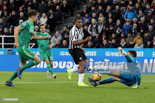 Salomon Rondon of Newcastle United shoots during the Premier League match between Newcastle United and Watford FC at St James Park on November 3 2018...
