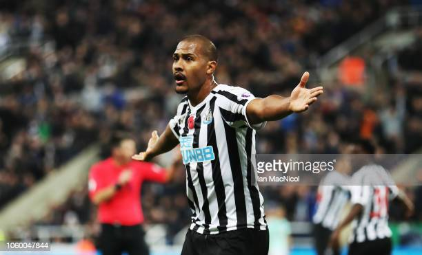 Salomon Rondon of Newcastle Unites gestures during the Premier League match between Newcastle United and AFC Bournemouth at St James Park on November...