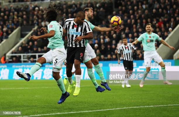 Salomon Rondon of Newcastle Unites heads at goal during the Premier League match between Newcastle United and AFC Bournemouth at St James Park on...