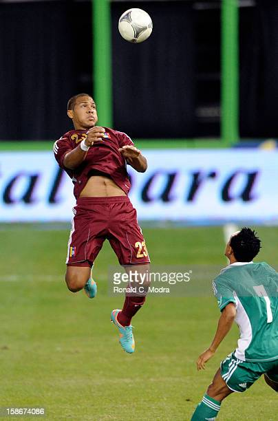 Salomon Rondon of the Venezuela National Soccer Team in action during an exhibition game against the Nigeria Soccer Team at Marlins Park on November...