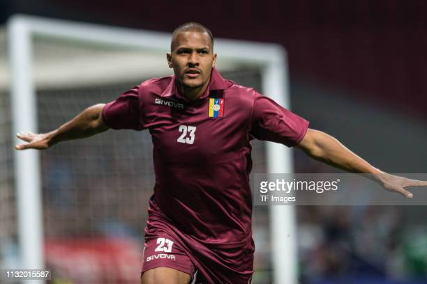 Salomon Rondon of Venezuela celebrates after scoring his team's first goal during the International Friendly match between Argentina and Venezuela at...