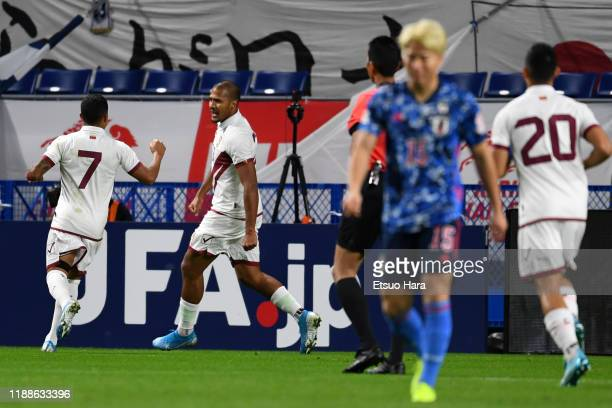 Salomon Rondon of Venezuela celebrates scoring his side's first goal during the international friendly match between Japan and Venezuela at the...