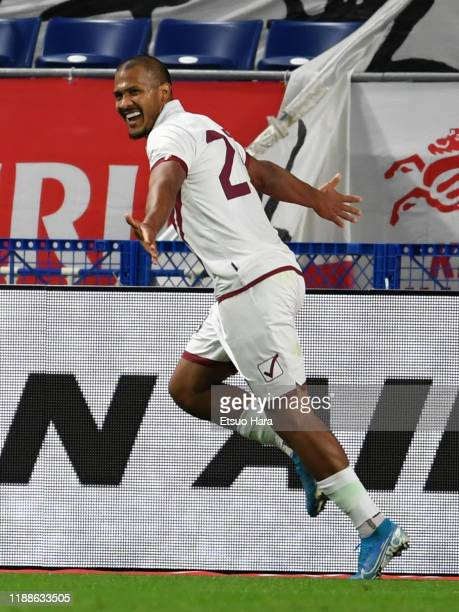 Salomon Rondon of Venezuela celebrates scoring his side's third goal and his hat trick during the international friendly match between Japan and...