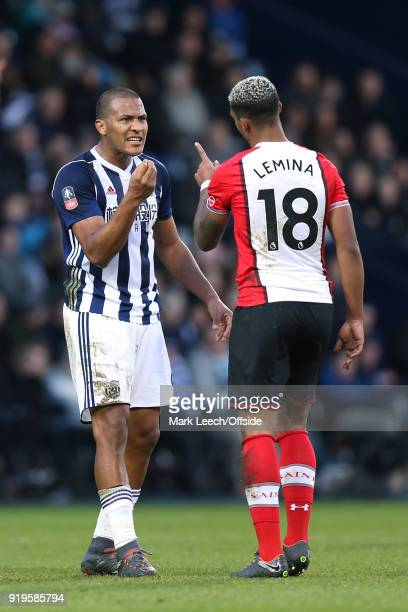 Salomon Rondon of West Brom and Mario Lemina of Southampton get involved in an argument during the FA Cup Fifth Round match between West Bromwich...
