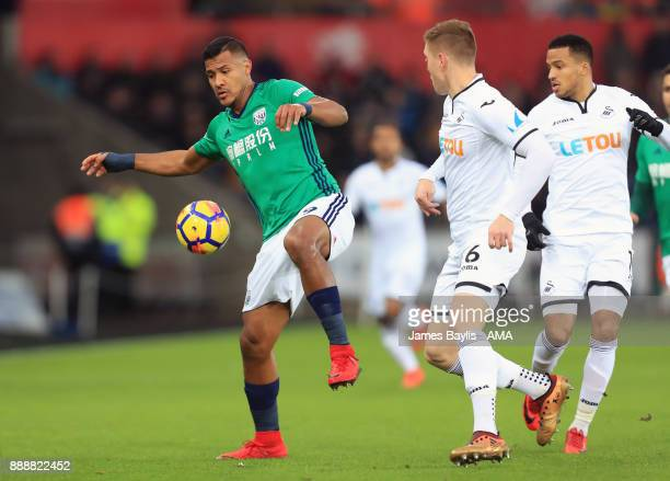 Salomon Rondon of West Bromwich Albion and Alfie Mawson of Swansea City during the Premier League match between Swansea City and West Bromwich Albion...