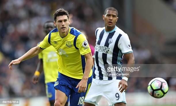 Salomon Rondon of West Bromwich Albion and Gareth Barry of Everton during the Premier League match between West Bromwich Albion and Everton at The...