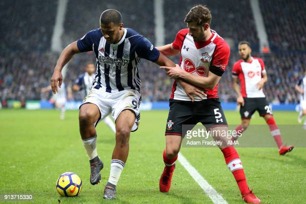 Salomon Rondon of West Bromwich Albion and Jack Stephens of Southampton Football Club during the Premier League match between West Bromwich Albion...