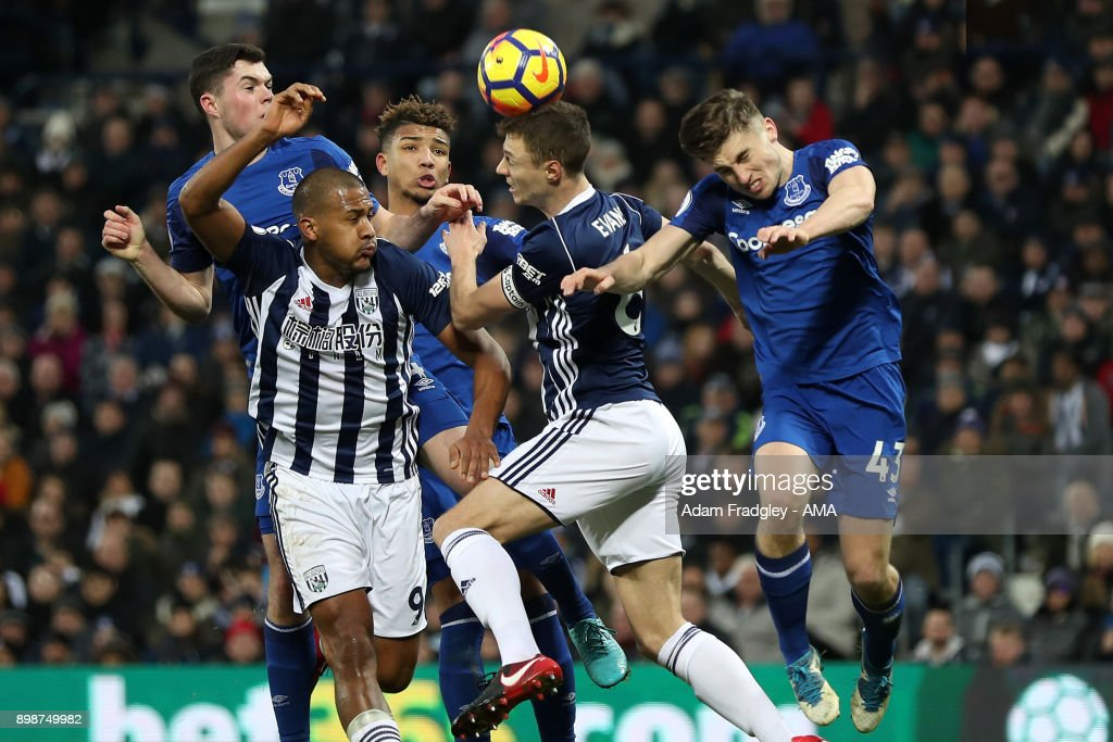Salomon Rondon of West Bromwich Albion and Jonny Evans of West Bromwich Albion attack the ball inside the Everton penalty box during the Premier League match between West Bromwich Albion and Everton at The Hawthorns on December 26, 2017 in West Bromwich, England.