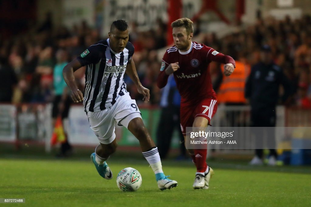 Salomon Rondon of West Bromwich Albion and Jordan Clark of Accrington Stanley during the Carabao Cup Second Round match between Accrington Stanley and West Bromwich Albion at Wham Stadium on August 22, 2017 in Accrington, England.
