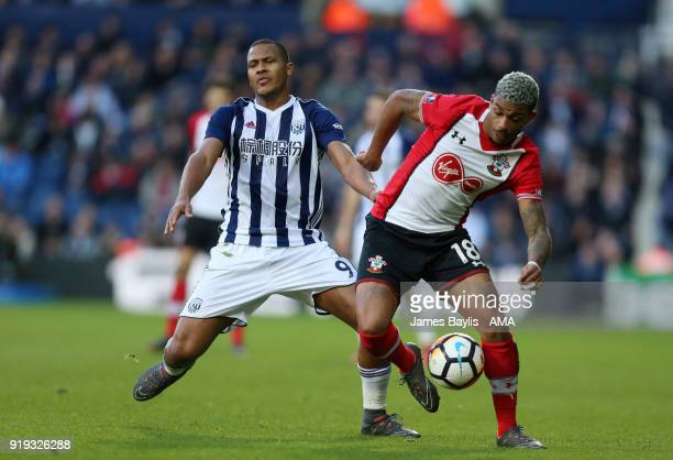 Salomon Rondon of West Bromwich Albion and Mario Lemina of Southampton during The Emirates FA Cup Fifth Round match between West Bromwich Albion and...