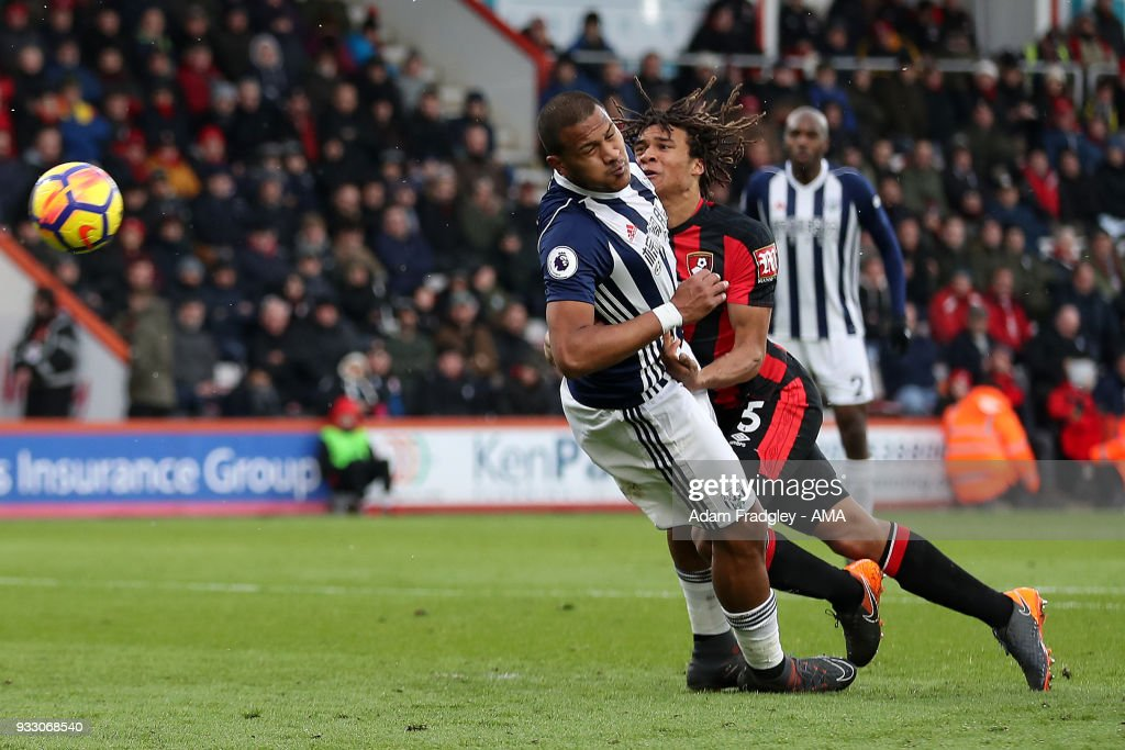 Salomon Rondon of West Bromwich Albion and Nathan Ake of AFC Bournemouth during the Premier League match between AFC Bournemouth and West Bromwich Albion at Vitality Stadium on March 17, 2018 in Bournemouth, England.