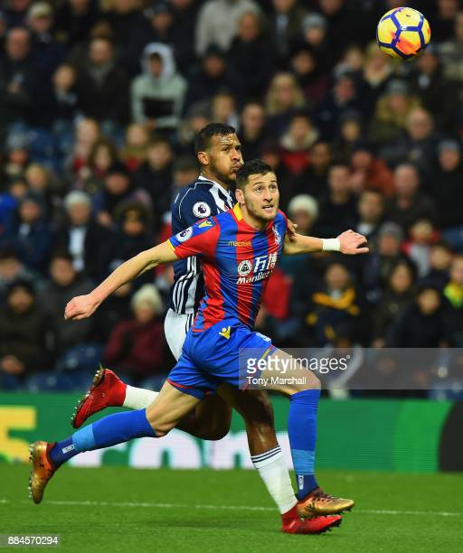 Salomon Rondon of West Bromwich Albion battles for the ball with Joel Ward of Crystal Palace during the Premier League match between West Bromwich...