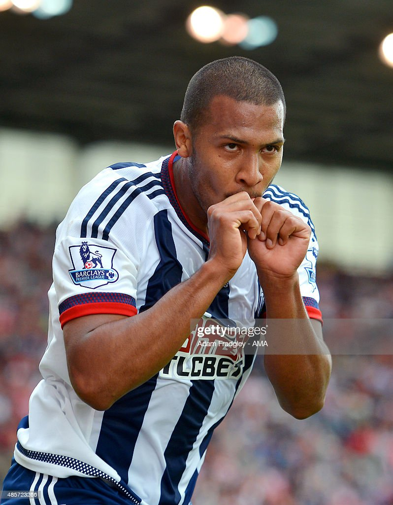 Salomon Rondon of West Bromwich Albion celebrates after scoring a goal to make it 0-1 during the Barclays Premier League match between West Bromwich Albion and Stoke City on August 29, 2015 in Stoke on Trent, United Kingdom.