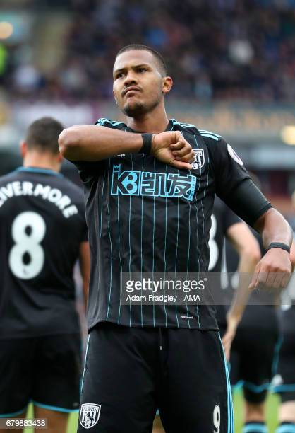 Salomon Rondon of West Bromwich Albion celebrates after scoring a goal to make it 11 during the Premier League match between Burnley and West...