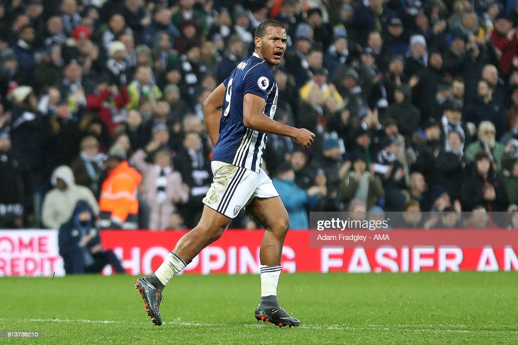 Salomon Rondon of West Bromwich Albion celebrates after scoring a goal to make it 2-3 during the Premier League match between West Bromwich Albion and Southampton at The Hawthorns on February 3, 2018 in West Bromwich, England.