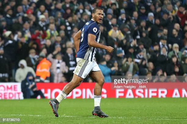 Salomon Rondon of West Bromwich Albion celebrates after scoring a goal to make it 23 during the Premier League match between West Bromwich Albion and...
