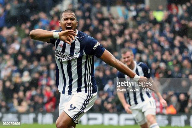 Salomon Rondon of West Bromwich Albion celebrates after scoring a goal to make it 10 during the Premier League match between West Bromwich Albion and...