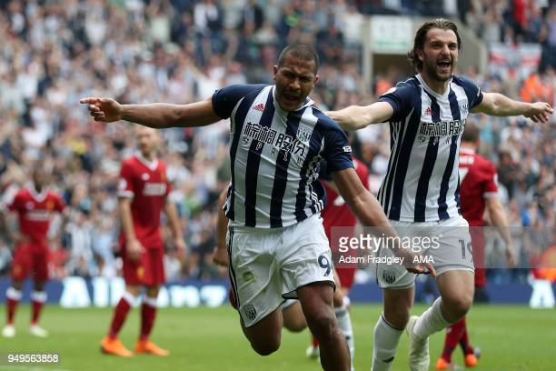 Salomon Rondon of West Bromwich Albion celebrates after scoring a goal to make it 22 with Jay Rodriguez of West Bromwich Albion during the Premier...