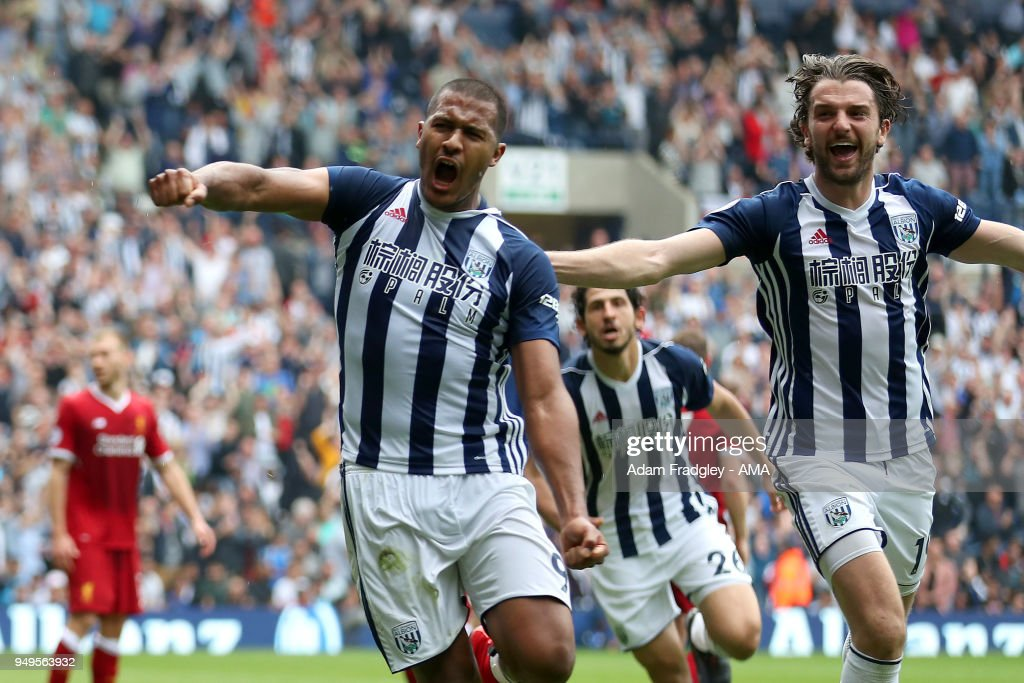 Salomon Rondon of West Bromwich Albion celebrates after scoring a goal to make it 2-2 during the Premier League match between West Bromwich Albion and Liverpool at The Hawthorns on April 22, 2018 in West Bromwich, England.