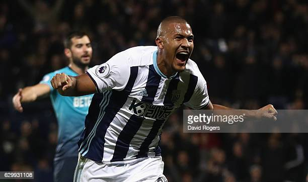 Salomon Rondon of West Bromwich Albion celebrates after scoring his third goal during the Premier League match between West Bromwich Albion and...