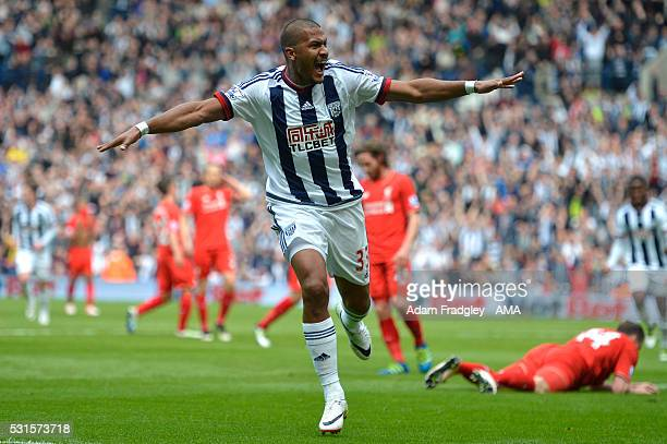 Salomon Rondon of West Bromwich Albion celebrates scoring a goal to make the score 10 during the Barclays Premier League match between West Bromwich...
