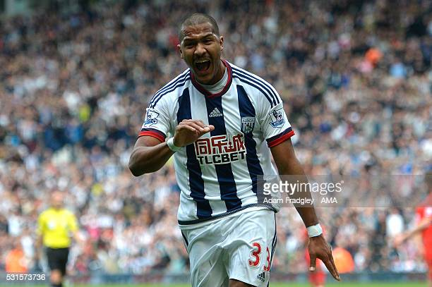 Salomon Rondon of West Bromwich Albion celebrates scoring a goal to make the score 1-0 during the Barclays Premier League match between West Bromwich...