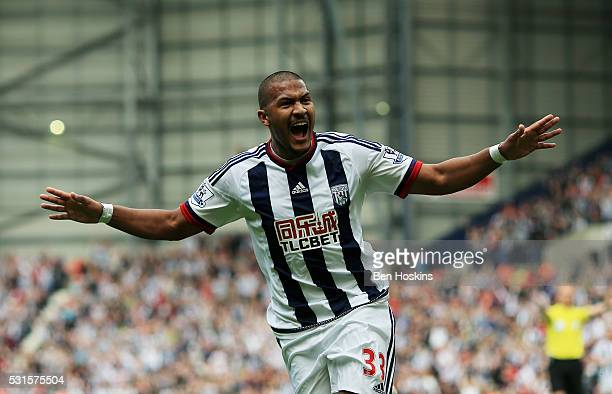 Salomon Rondon of West Bromwich Albion celebrates scoring his team's first goal during the Barclays Premier League match between West Bromwich Albion...