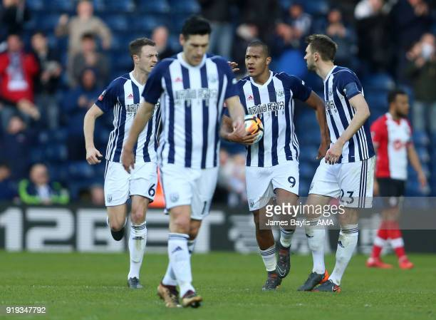 Salomon Rondon of West Bromwich Albion celebrates with his team mates after scoring a goal to make it 12 during The Emirates FA Cup Fifth Round match...