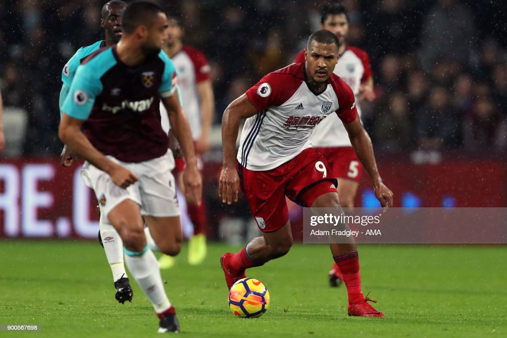 Salomon Rondon of West Bromwich Albion during the Premier League match between West Ham United and West Bromwich Albion at London Stadium on January 2, 2018 in London, England.