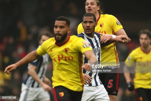 Salomon Rondon of West Bromwich Albion during the Premier League match between Watford and West Bromwich Albion at Vicarage Road on March 3 2018 in...