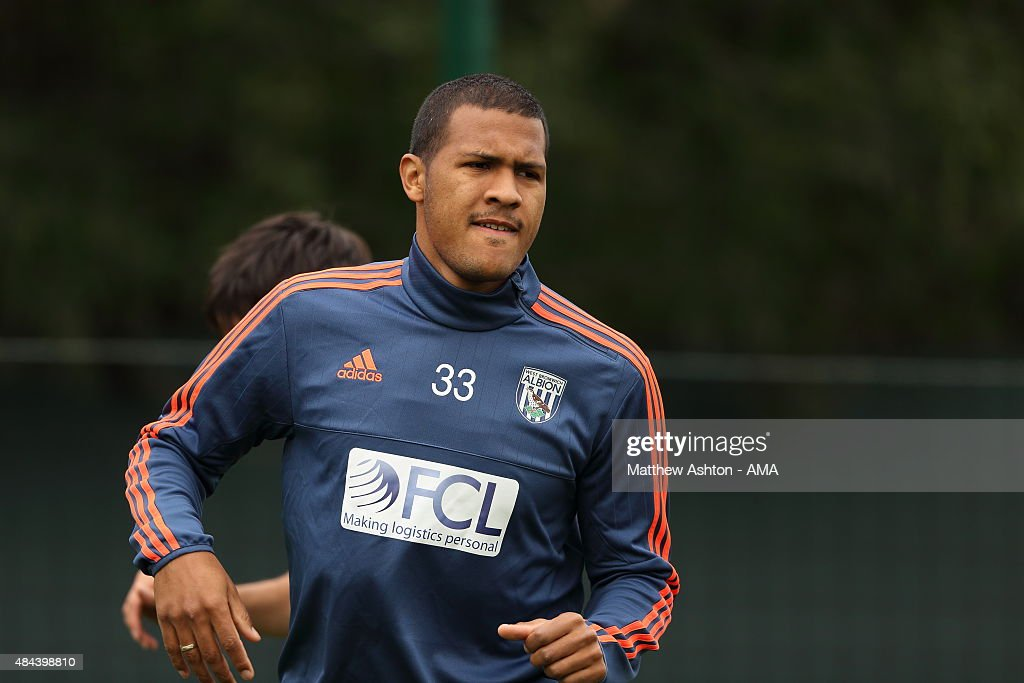 Salomon Rondon of West Bromwich Albion during the West Bromwich Albion training session at West Bromwich Albion Training Ground on August 18, 2015 in Walsall, England.