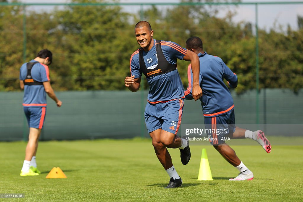 Salomon Rondon of West Bromwich Albion during the West Bromwich Albion training session at West Bromwich Albion Training Ground on September 10, 2015 in Walsall, England.